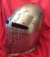 14 Gauge Visored Medieval Bascinet Helm for Full Contact SCA and WMA Combat